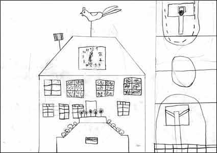 École du village de Villars-Mendraz. Crayon sur papier. 21 par 30 cm. Élève de 5 ans.