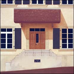École du village de Villars-Mendraz . Peinture sur bois. 90 par 90 cm. Élève de 20 ans.