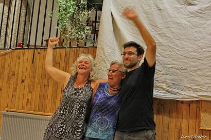Trio d'organisateurs: Monique Ferrerons, Nicole Bouin et Fadi Makki - Photo de Laurent Nembrini