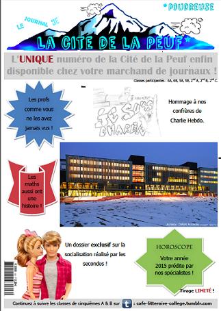 Une du journal créé pendant l'année de stage à Villard de Lans