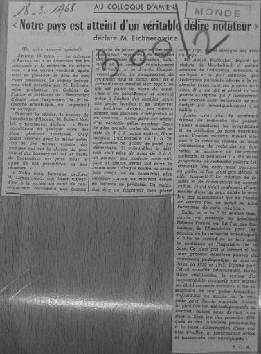 Notre pays est atteint d'un véritable délire notateur, Le Monde, 18 mars 1968