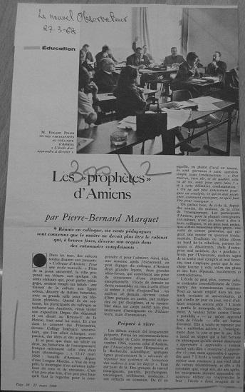 Les prophètes d'Amiens, Le Nouvel Observateur, 27 mars 1968